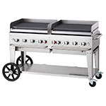 "Crown Verity MG-60NG 58"" Mobile Gas Commercial Outdoor Griddle, NG"