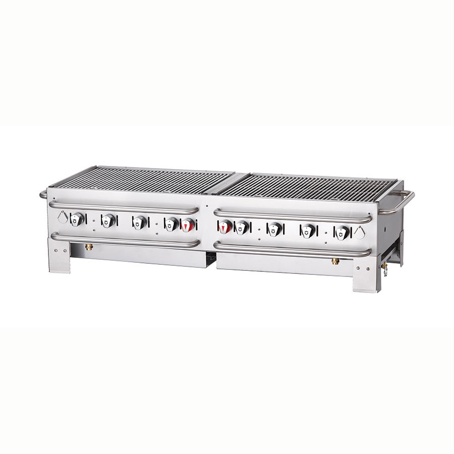 "Crown Verity PCB-60 58"" Countertop Gas Commercial Outdoor Grill w/ Water Pan, LP"