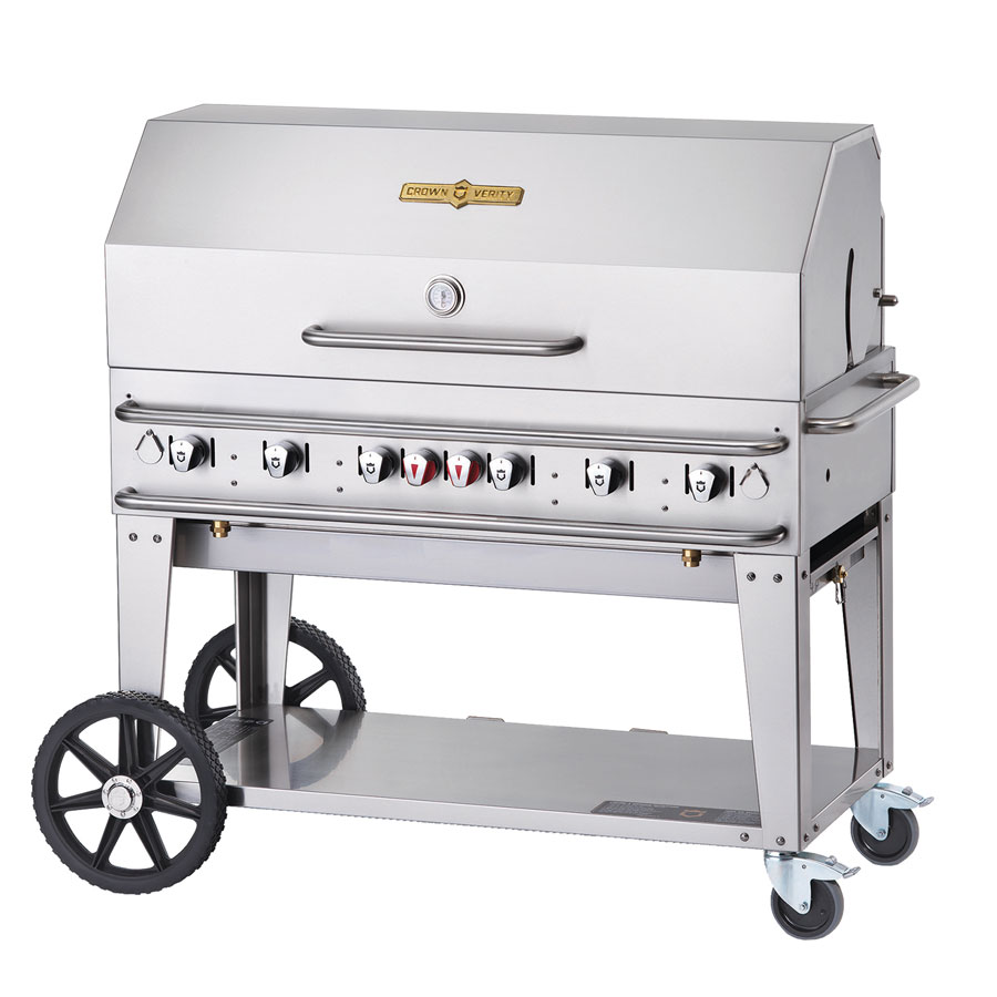 "Crown Verity RCB-48RDP-LP 48"" Mobile Gas Commercial Outdoor Grill w/ Water Pans, LP"
