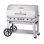 "Crown Verity RCB-48RDP-SI-LP 46"" Mobile Gas Commercial Outdoor Grill w/ Water Pans, LP"