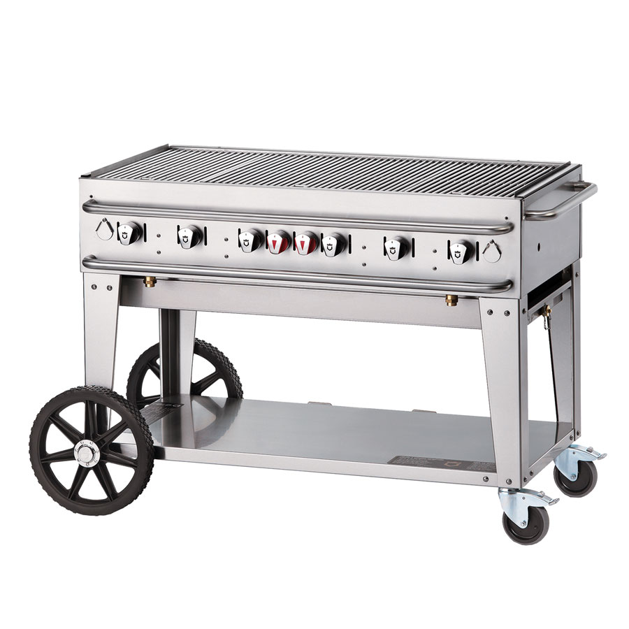 "Crown Verity RCB-48-SI-LP 56"" Portable Outdoor Gas Grill w/ (6) Burners - Stainless, LP"
