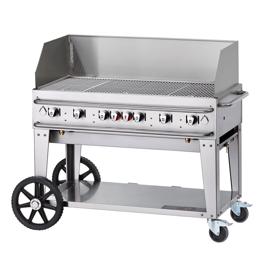 "Crown Verity RCB-48WGP-SI-LP 56"" Portable Outdoor Gas Grill w/ Wind Guard - (6) Burners, Stainless, LP"