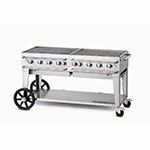 "Crown Verity RCB-60-LP 60"" Mobile Gas Commercial Outdoor Grill w/ Water Pans, LP"