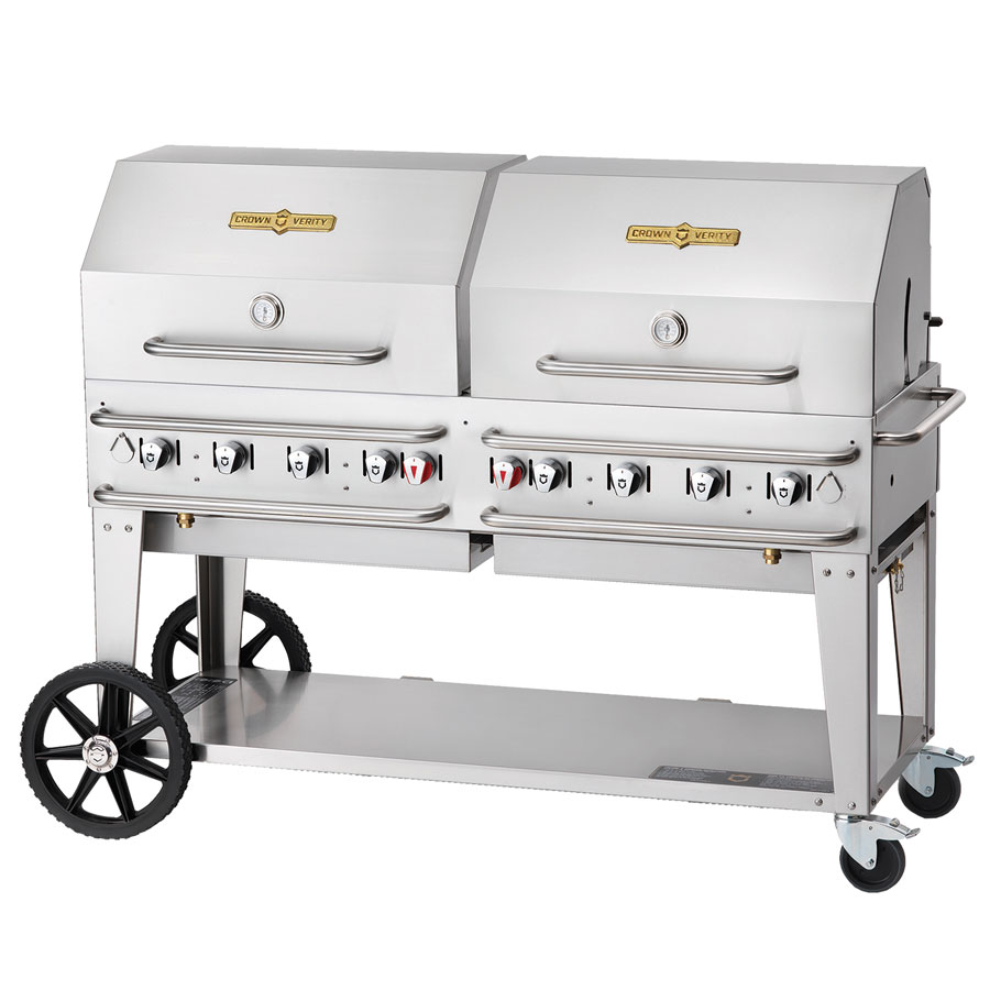 "Crown Verity RCB-60RDP-LP 58"" Mobile Gas Commercial Outdoor Grill w/ Water Pans, LP"