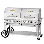 "Crown Verity RCB-60RDP-SI-LP 58"" Mobile Gas Commercial Outdoor Grill w/ Water Pans, LP"