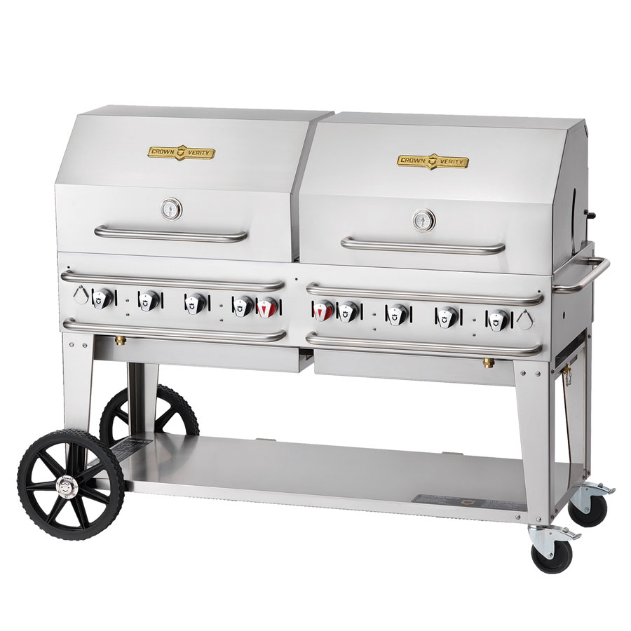 "Crown Verity RCB-60RDP-SI-LP 69"" Portable Outdoor Gas Grill w/ Roll Dome - (8) Burners, Stainless, LP"