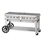 "Crown Verity RCB-60-SI-LP 58"" Mobile Gas Commercial Outdoor Grill w/ Water Pans, LP"