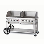 "Crown Verity RCB-60WGP-LP 58"" Mobile Gas Commercial Outdoor Grill w/ Water Pans, LP"