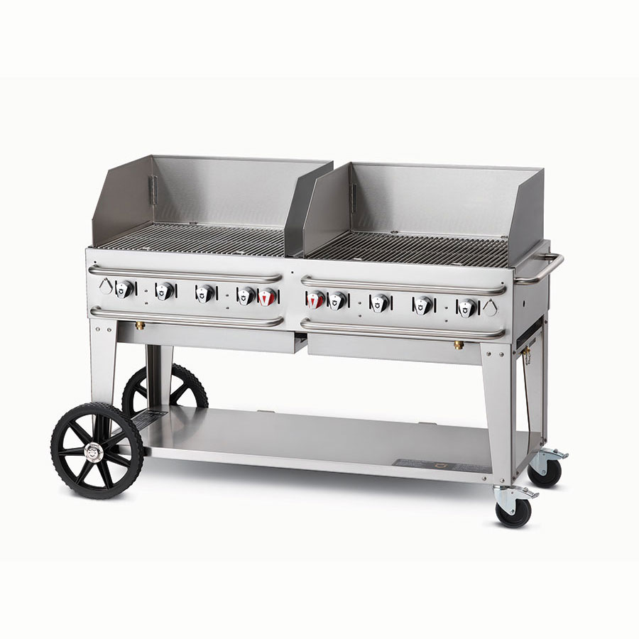 "Crown Verity RCB-60WGP-LP 60"" Mobile Gas Commercial Outdoor Grill w/ Water Pans, LP"
