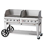 "Crown Verity RCB-60WGP-SI-LP 60"" Mobile Gas Commercial Outdoor Grill w/ Water Pans, LP"