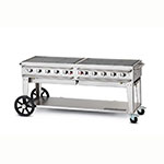 "Crown Verity RCB-72-LP 70"" Mobile Gas Commercial Outdoor Grill w/ Water Pans, LP"