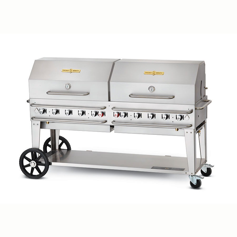 "Crown Verity RCB-72RDP-LP 70"" Mobile Gas Commercial Outdoor Grill w/ Water Pans, LP"