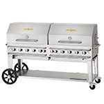 "Crown Verity RCB-72RDP-SI-LP 70"" Mobile Gas Commercial Outdoor Grill w/ Water Pans, LP"