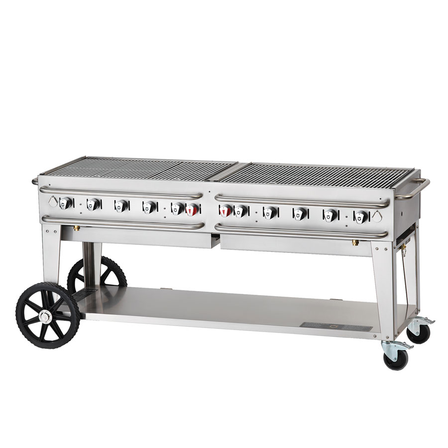 "Crown Verity RCB-72-SI-LP 70"" Mobile Gas Commercial Outdoor Grill w/ Water Pans, LP"