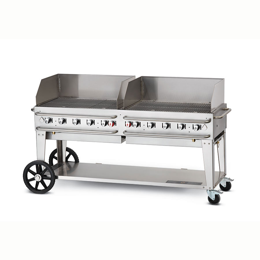 "Crown Verity RCB-72WGP-LP 72"" Mobile Gas Commercial Outdoor Grill w/ Water Pans, LP"