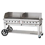 """Crown Verity RCB-72WGP-SI-LP 70"""" Mobile Gas Commercial Outdoor Grill w/ Water Pans, LP"""