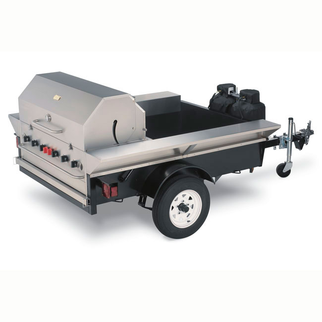 "Crown Verity TG-2 46"" Towable Gas Commercial Outdoor Grill w/ Water Pans, LP"