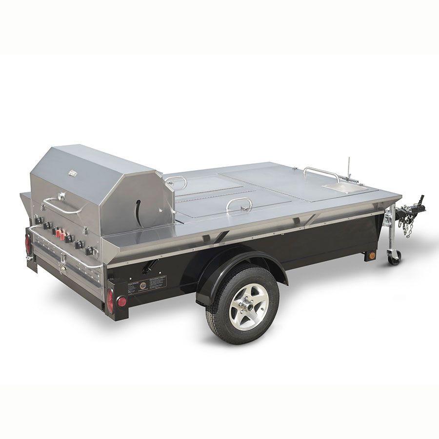 "Crown Verity TG-4 46"" Towable Gas Commercial Outdoor Grill w/ Water Pans, LP"