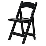 CSP R-101-BK Folding Chair w/ Vinyl Padded Seat - 1,000-lb Capacity, Max Resin, Black