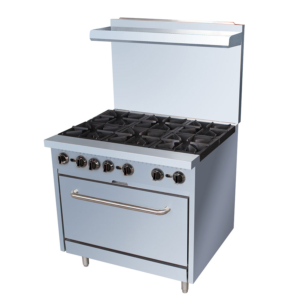 """Restaurant Kitchen Oven equipped 36-cpgv-6b-s30 36"""" 6-burner gas range w/ standard oven, ng"""