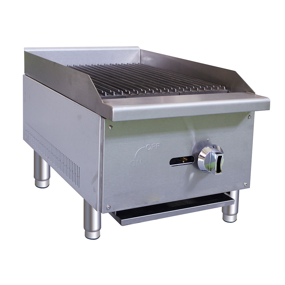"""eQuipped CBR15 16"""" Gas Countertop Charbroiler - Standard, 30,000 BTU, Stainless"""