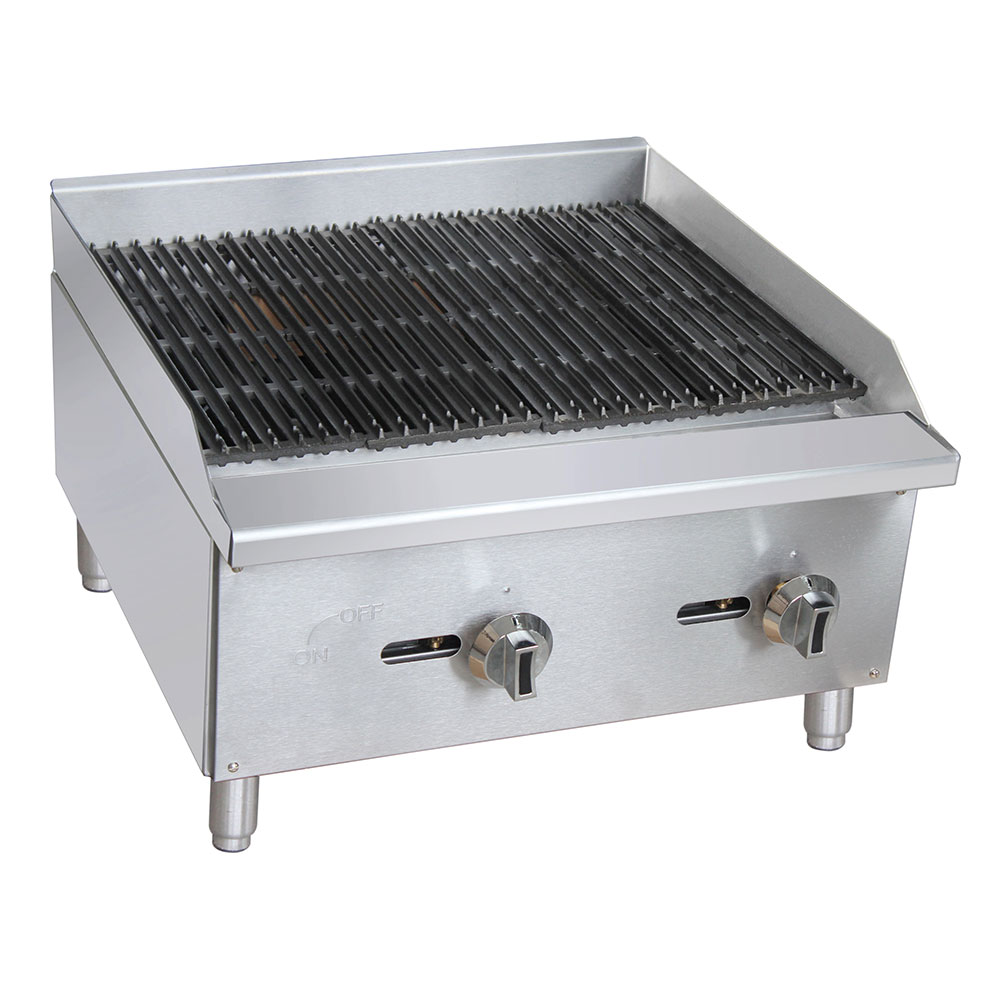 "eQuipped CBR24 24"" Gas Countertop Charbroiler - Standard, 60,000 BTU, Stainless"