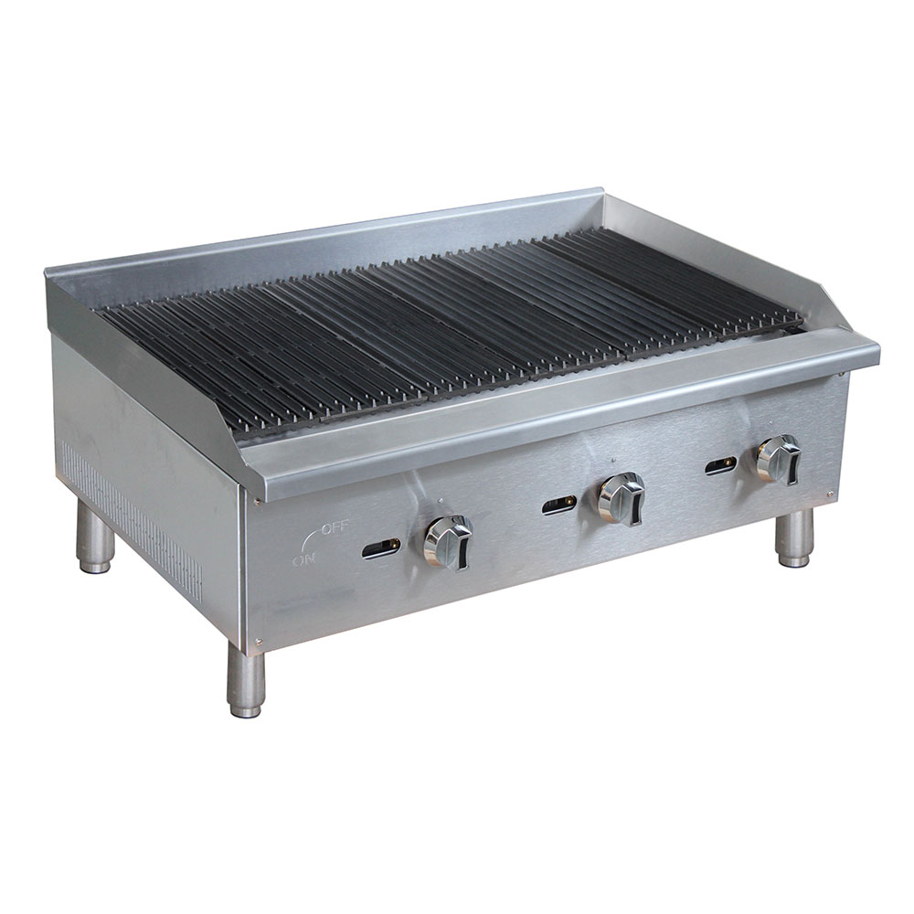 "eQuipped CBR36 36"" Gas Countertop Charbroiler - Standard, 90,000 BTU, Stainless"