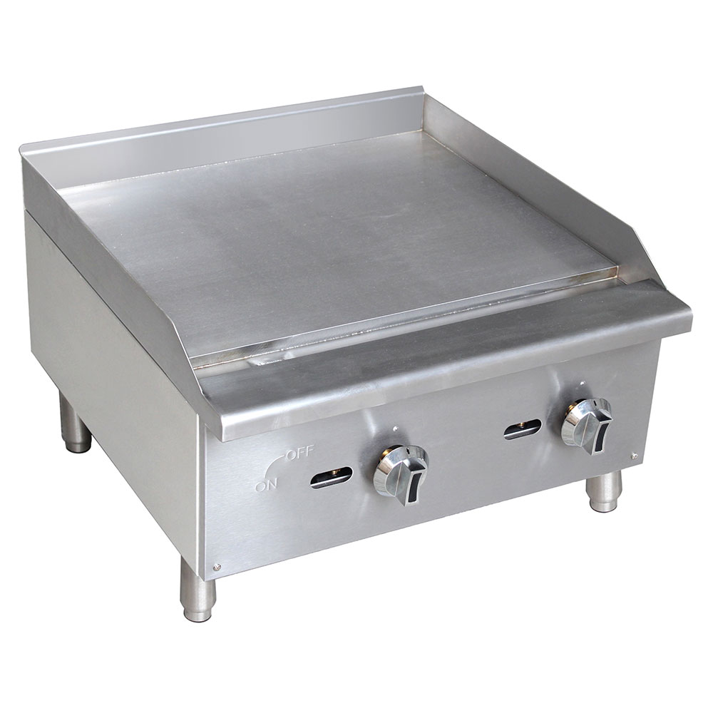 """eQuipped G24 24"""" Gas Griddle - Manual, 5/8"""" Steel Plate"""