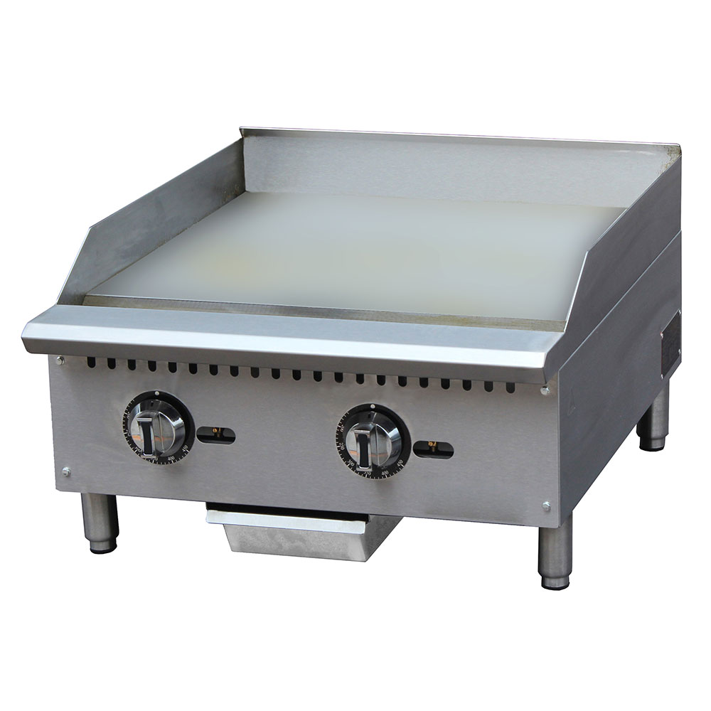 """eQuipped G24T 24"""" Gas Griddle - Thermostatic, 1"""" Steel Plate"""