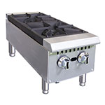 "Value Series HP212 12"" Gas Hot Plate w/ 2 Open Burners - Cast Iron Grates"