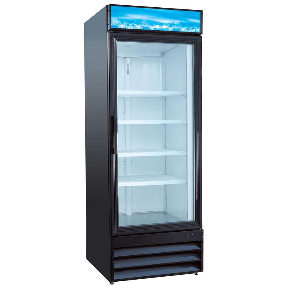 """eQuipped VRGD23 28"""" One-Section Glass Door Merchandiser w/ Swing Door, Black, 115v"""