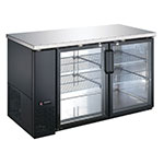 "eQuipped VUBB2 59"" (2) Section Bar Refrigerator - Swinging Glass Doors, 115v"