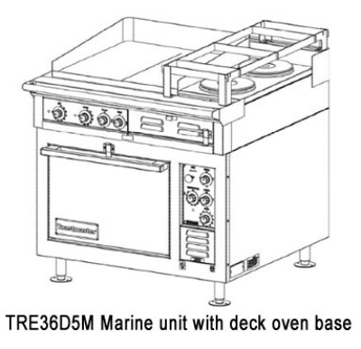 Toastmaster TRE36D2M 4803 Marine HD 36-in Range (2) 12 x 24-in Hot Top 2-Hotplate 480/3 V Restaurant Supply