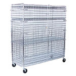 "Value Supplies 10007 72"" Mobile Security Cage w/ (4) Shelves, Chrome"
