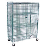 "Value Supplies 20003 36"" Mobile Security Cage w/ (4) Shelves, Green Epoxy"
