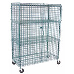 "Value Supplies 20004 48"" Mobile Security Cage w/ (4) Shelves, Green Epoxy"