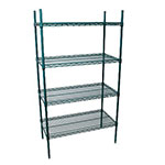"StoreIt 218367 Epoxy Coated Wire Shelving Unit w/ (4) Levels, 36"" x 18"" x 72"""