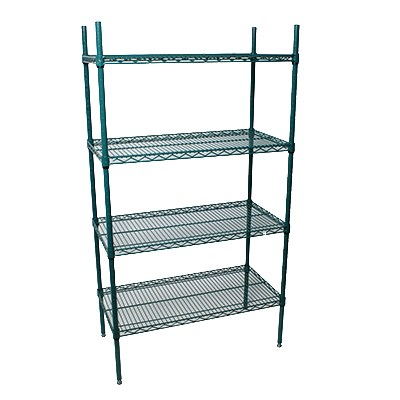 "StoreIt 224368 Epoxy Coated Wire Shelving Unit w/ (4) Levels, 36"" x 24"" x 84"""