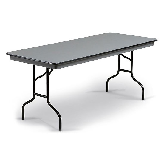 "Midwest Folding Products 630EF Rectangular Folding Banquet Table w/ Gray Glace Laminate Top, 30"" x 72"""