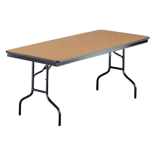 "Midwest Folding Products 830EF Rectangular Folding Banquet Table w/ Walnut Laminate Top, 30"" x 96"""