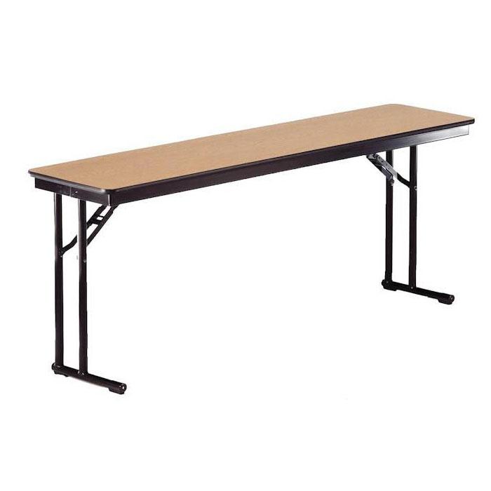 "Midwest Folding Products CP818EF Rectangular Folding Seminar Table w/ Walnut Laminate Top, 18"" x 96"""