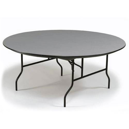 "Midwest Folding Products R60EF 60"" Round Folding Banquet Table w/ Gray Glace Laminate Top"