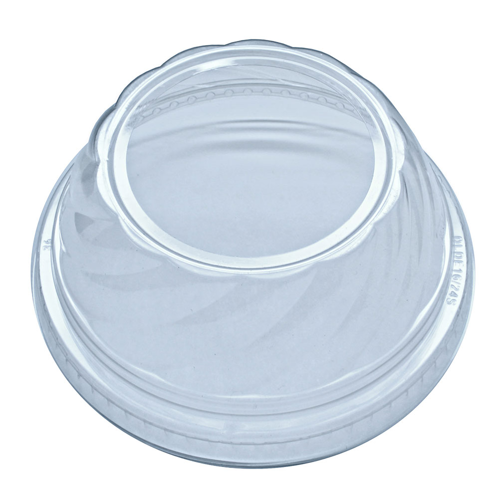 """Fabri-Kal DLDE16/24S Lid for Indulge™ Dessert Containers w/ 2"""" Hole -  Plastic, Clear"""