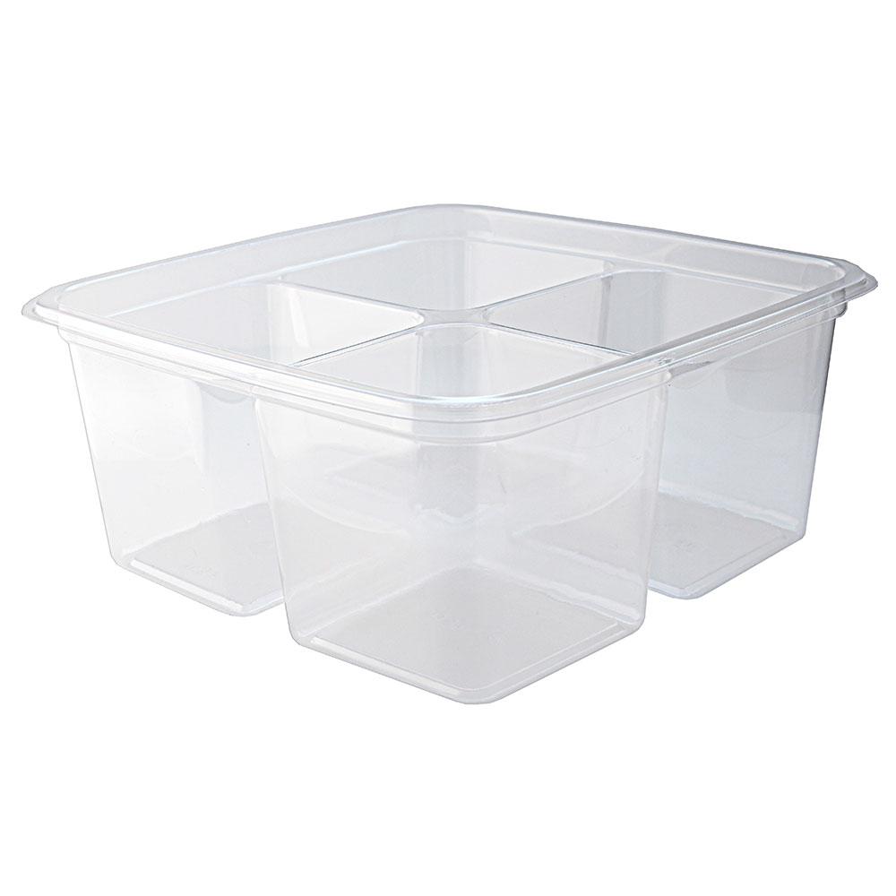"""Fabri-Kal GS6-4 4-Compartment Greenware® On-The-Go Box - 6"""" Square, Plastic, Clear"""