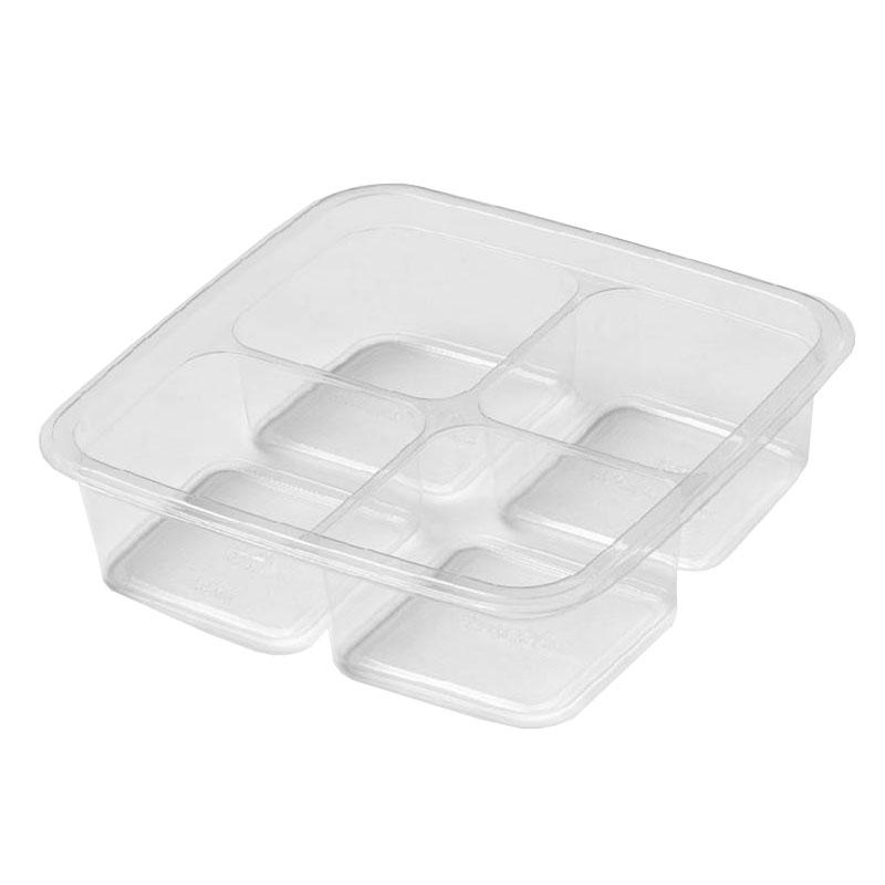 "Fabri-Kal GS6-4S 4-Compartment Greenware® On-The-Go Box - 6"" Square, Plastic, Clear"