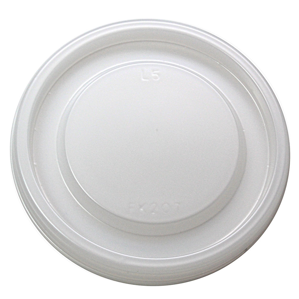 Fabri-Kal L5NV Flat Lid for RK3.5 & RK5 Drink Cup - No Hole, Plastic, Clear