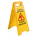 "Clean Up by KaTom T205 19"" Wet Floor Sign - Plastic, Yellow"