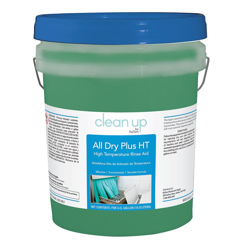 Clean Up by KaTom ALLDRYHT5 5-gal All Dry Plus HT High-Temp Rinse Aid for Commercial Dishwashers