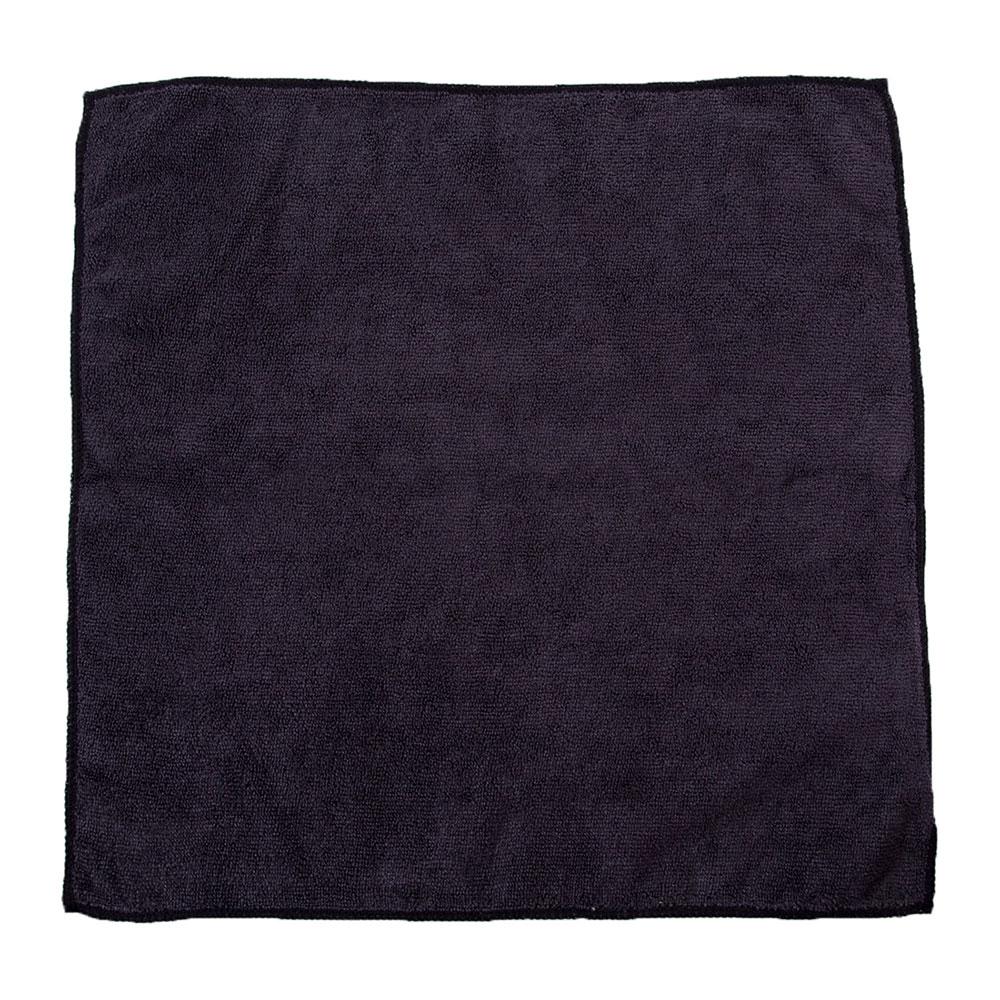 "Clean Up by KaTom MFMP16BK 16"" Square Multi-Purpose Towel - Microfiber, Black"