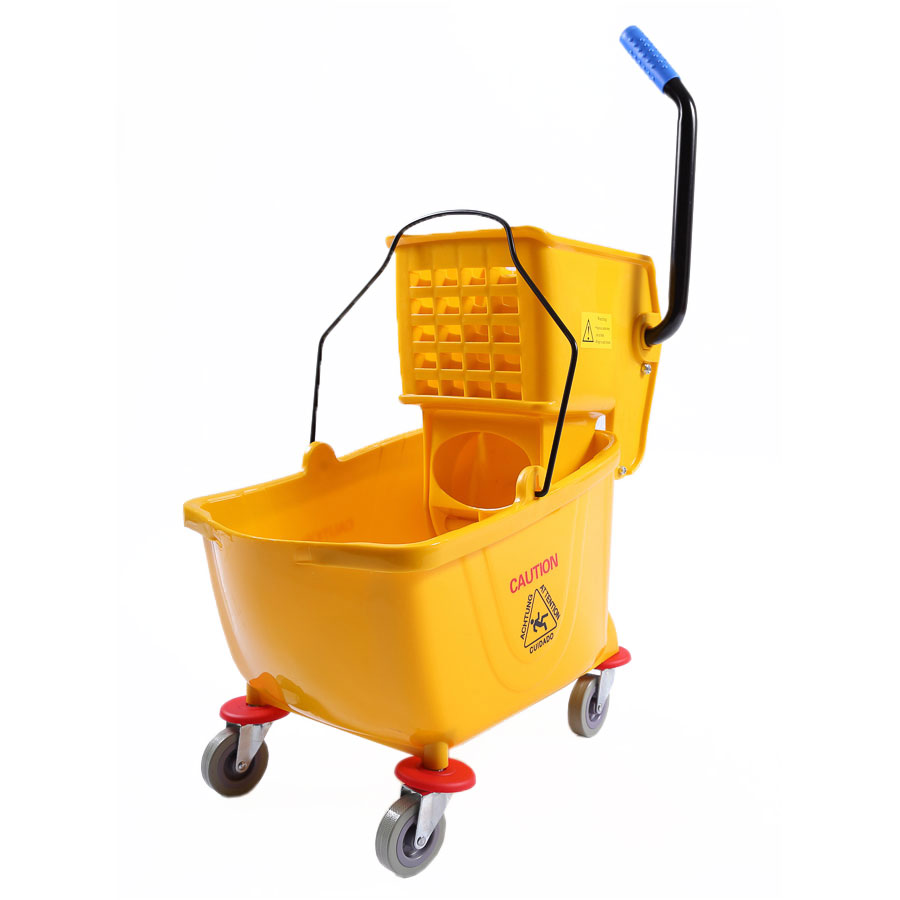Clean Up by KaTom T501-25 26-qt Mop Bucket w/ Side Press Wringer - Plastic, Yellow